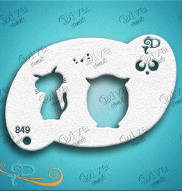 DivaStencils 849 Diva Stencils Kawaii Kitty Owl