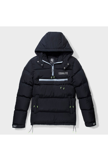 HALF-ZIP PUFFER JACKET BLACK