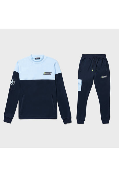 FUTURE POLYESTER TRACKSUIT NAVY & LIGHT BLUE