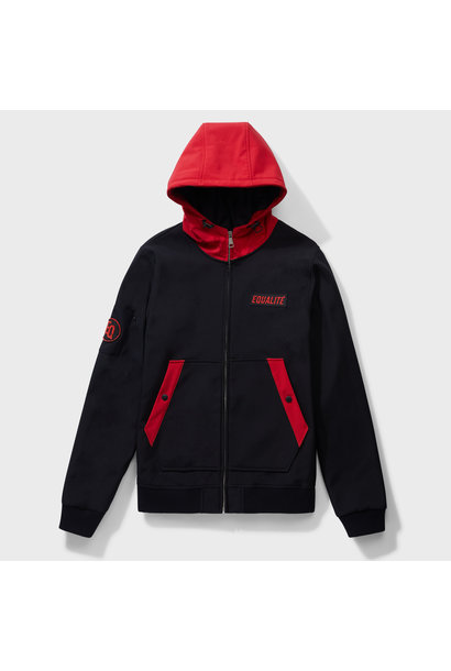 SOFT SHELL JACKET BLACK & RED