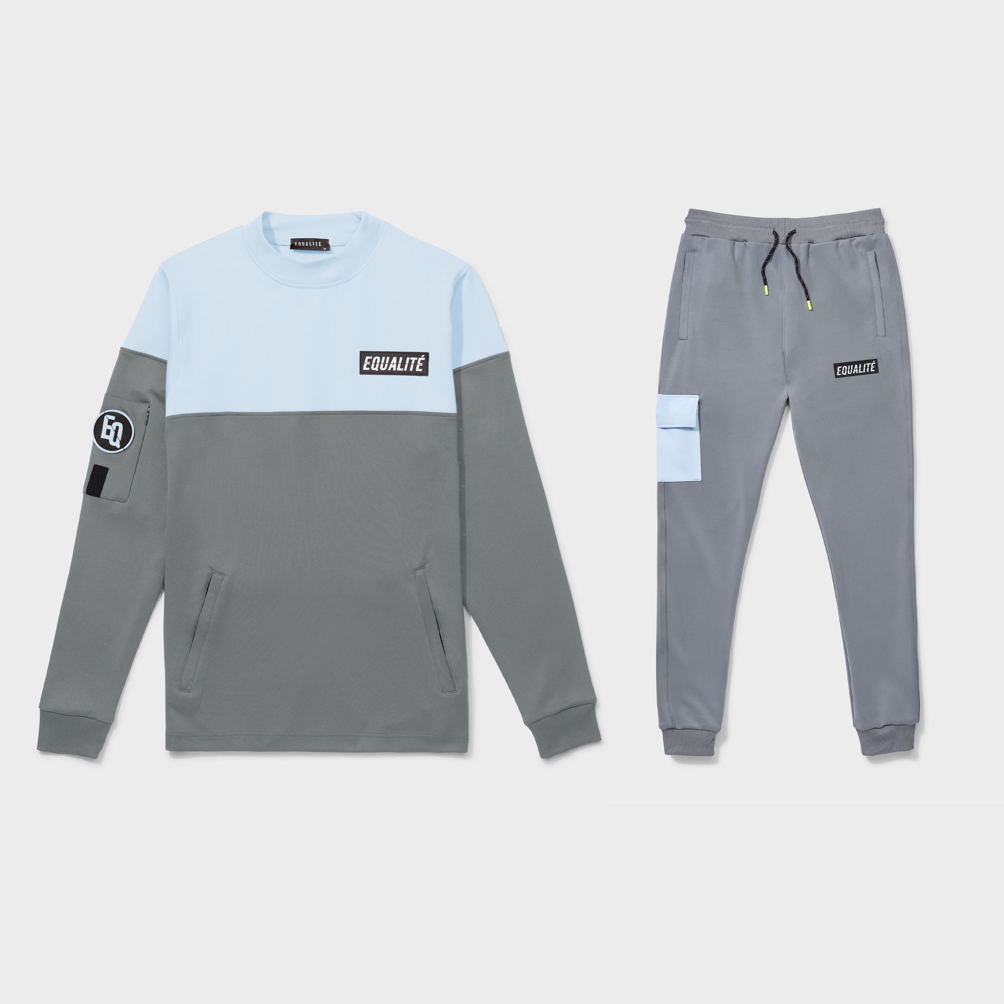 Future polyester tracksuit grey & light blue-1