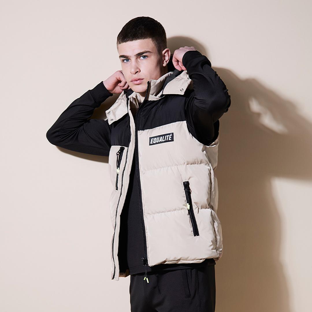 Kaleb bodywarmer beige & black-5