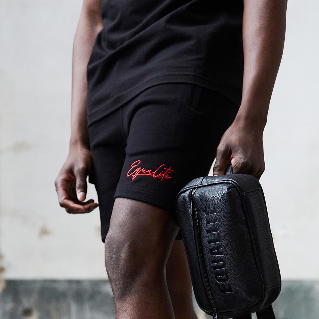 Wafi signature shorts black & red-4