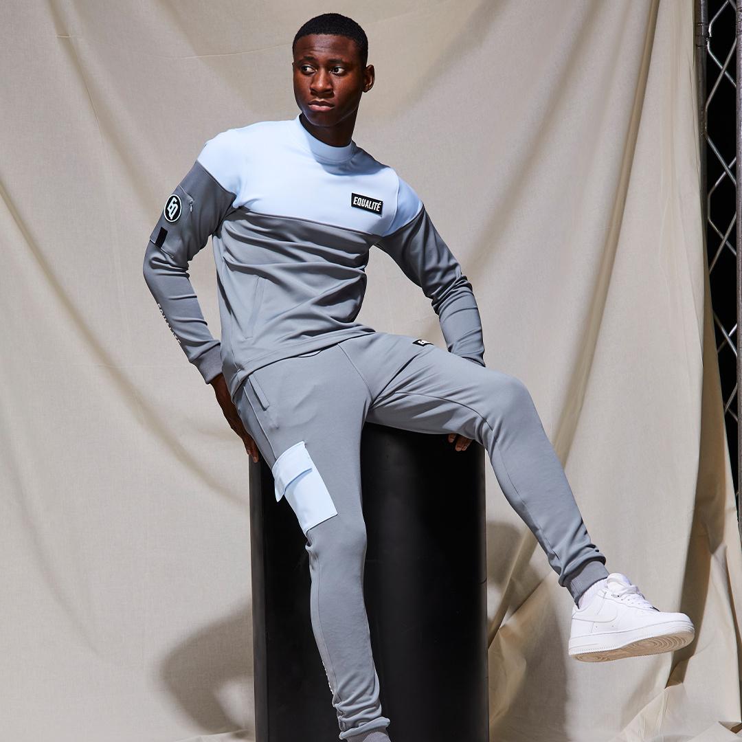Future polyester tracksuit grey & light blue-9