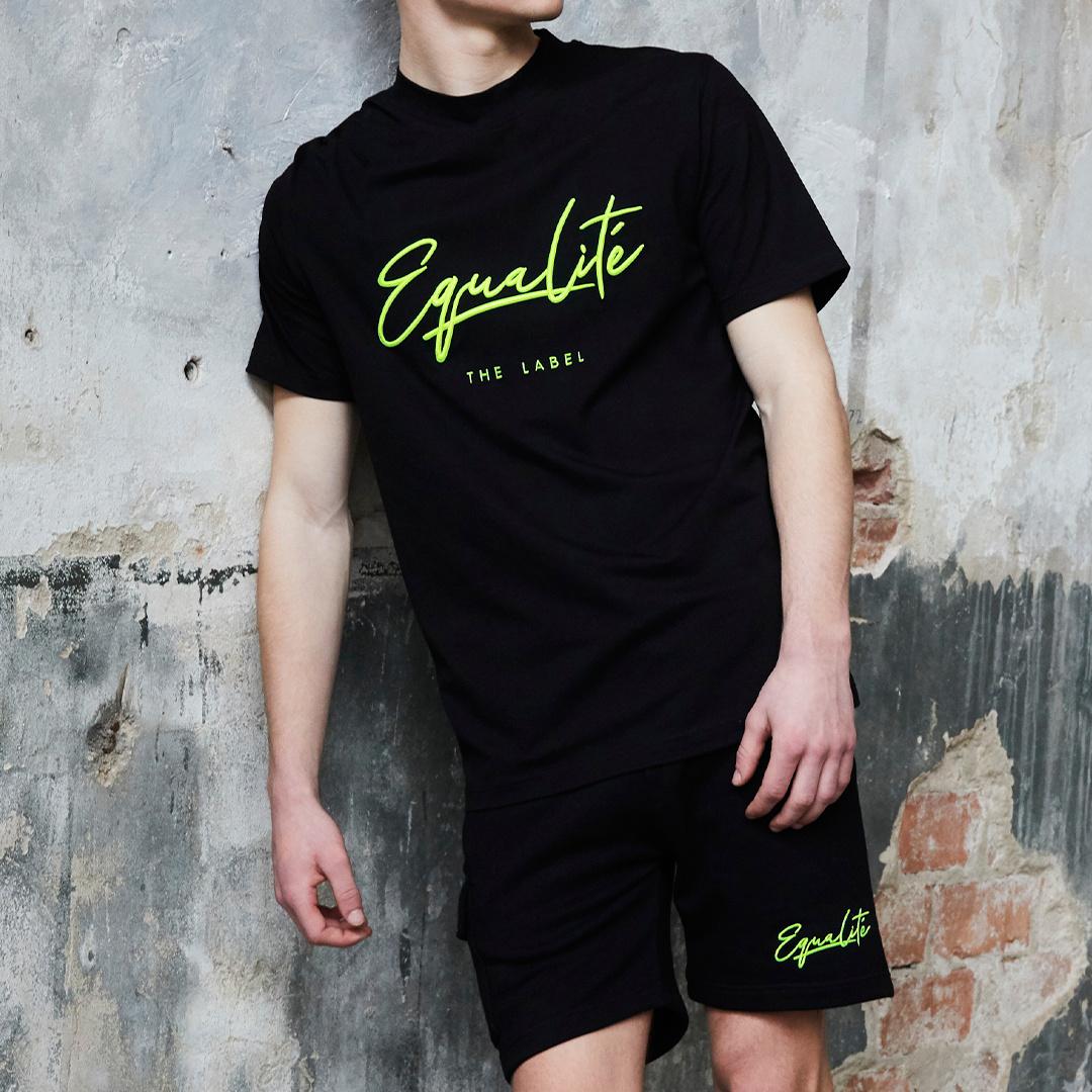 Wafi signature shorts black & neon yellow-4