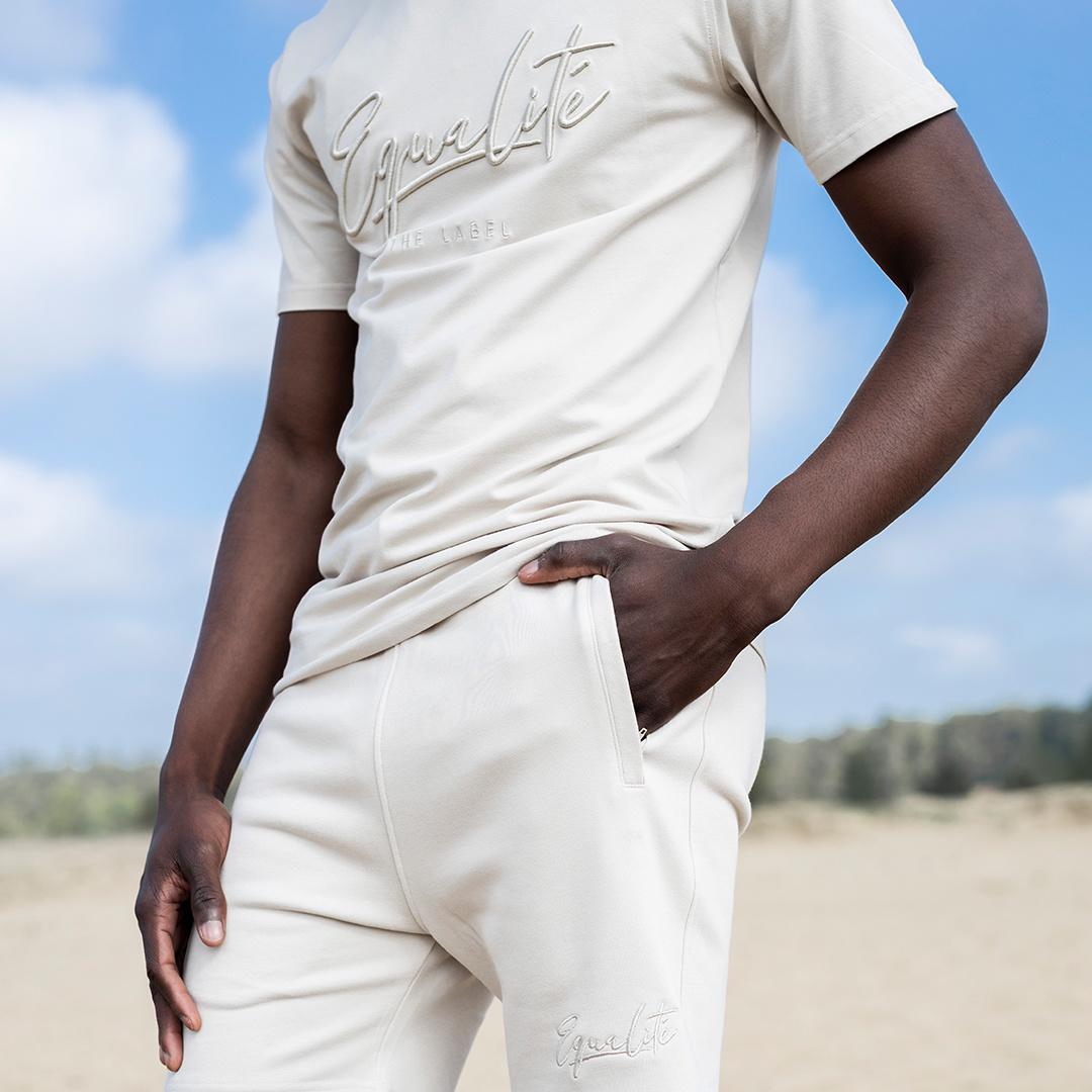 Wafi signature shorts beige-4