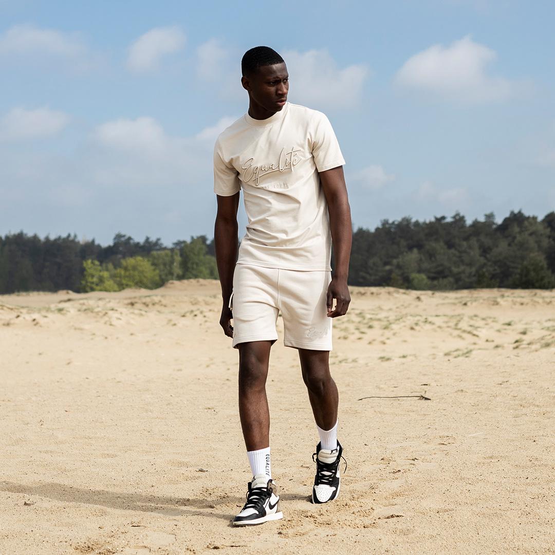 Wafi signature shorts beige-5