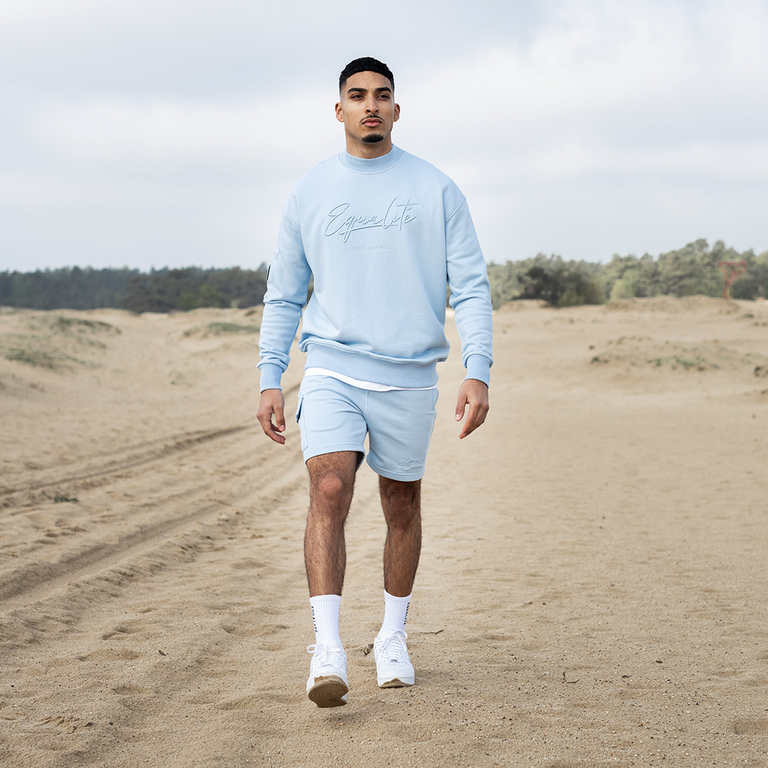 Wafi signature shorts light blue-4