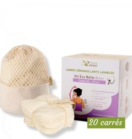 LES TENDANCES D'EMMA Kit eco-beautiful bamboo ecru square makeup removers washable/reusable