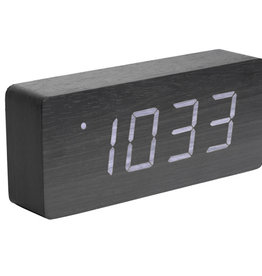 PRESENT TIME Alarm Clock Dark Wood Tube Present Time