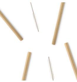 4 Straws of bamboo with bottle brush