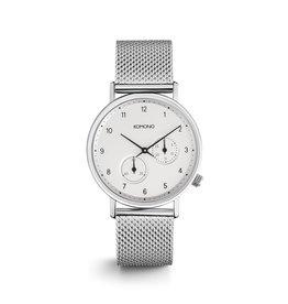 KOMONO Walther zilveren mesh komono-horloge