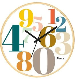 FISURA NUMBERS MULTICOLOR CLOCK WHITE