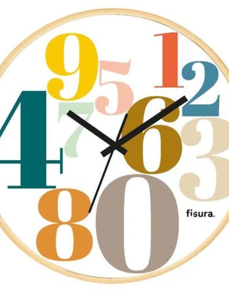 FISURA NUMBERS MULTICOLOR CLOCK WHITE