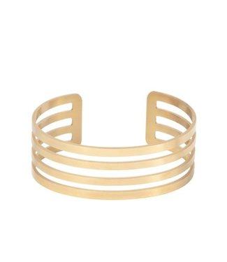 Ellen Beekmans Brede armband met 4 open cirkels