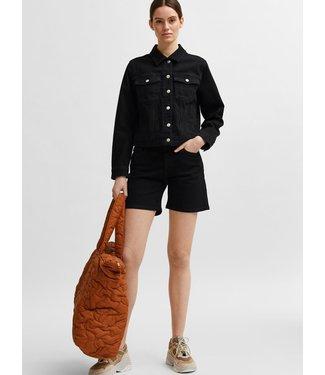 Selected Black Denim Shorts U