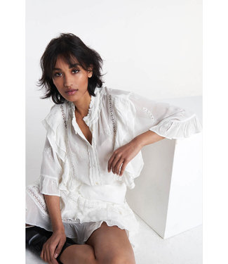 Alix The Label Ladies Woven Embroidery Chiffon Blouse White