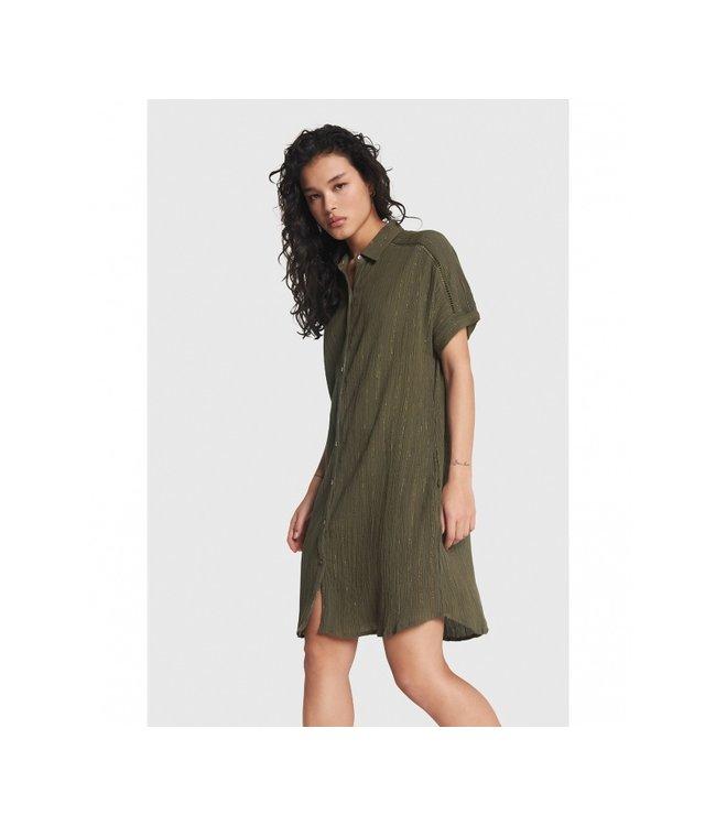 Ladies Woven Lurex Stripe Crinkle Tunic Dress