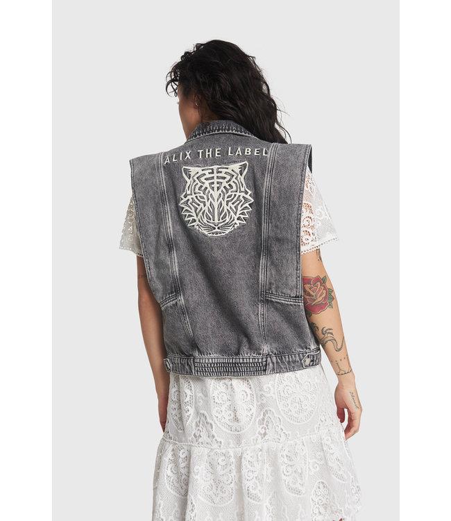 Alix The Label Ladies Woven Embroidered Denim Waistcoat