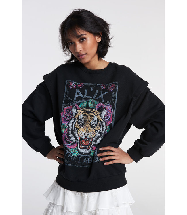 Alix The Label Ladies Knitted Cottin Tiger Sweater Black