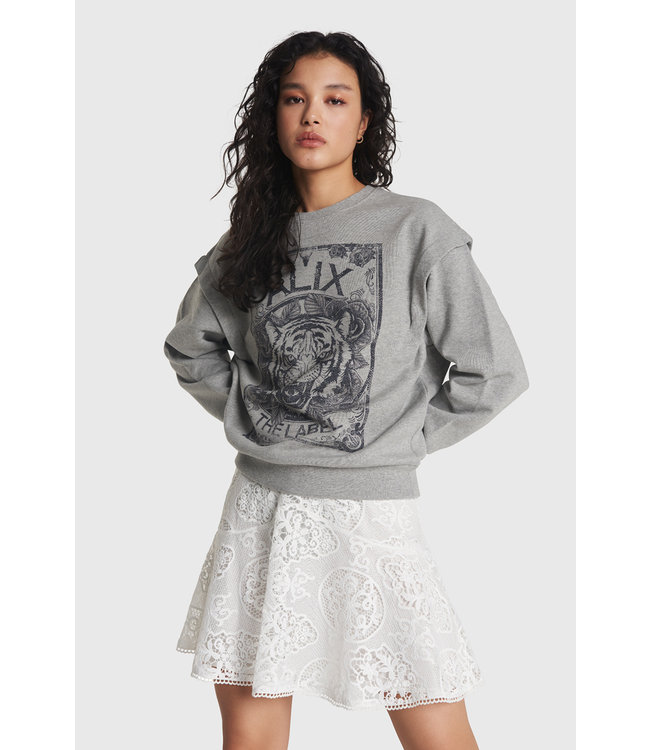 Alix The Label Ladies Knitted Cottin Tiger Sweater Grey