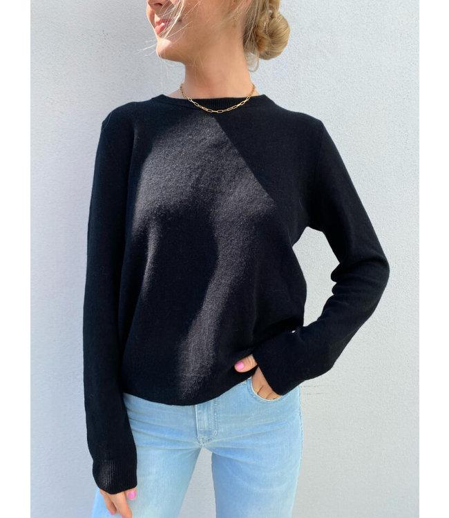 Selected Fudge Cashmere Knit O-Neck Black