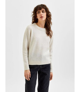 Selected Sia LS Knit O-Neck White
