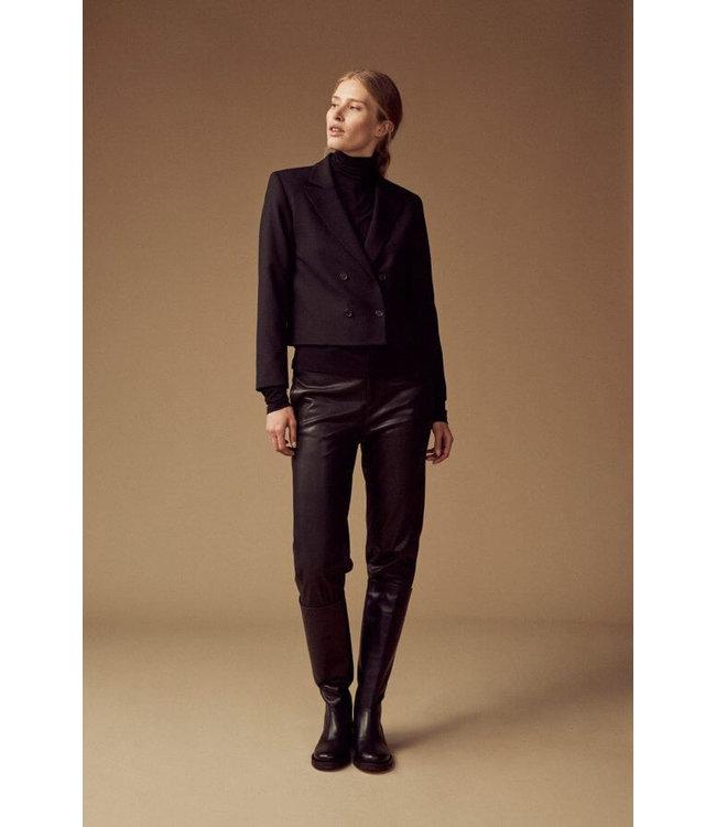 Femmes du Sud Orlane Trouser Vegan Leather Dark Brown