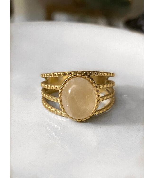 4 delige ring met ovale steen
