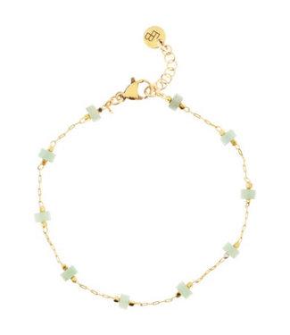 Ellen Beekmans Fijn armbandje met edelsteentjes licht groen