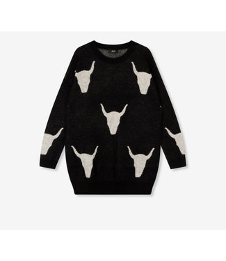 Alix The Label Ladies Knitted Bull Jacquard Pullover