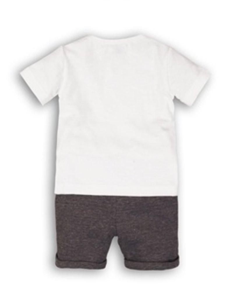 Dirkje Tweedelig babypakje white en navy melange
