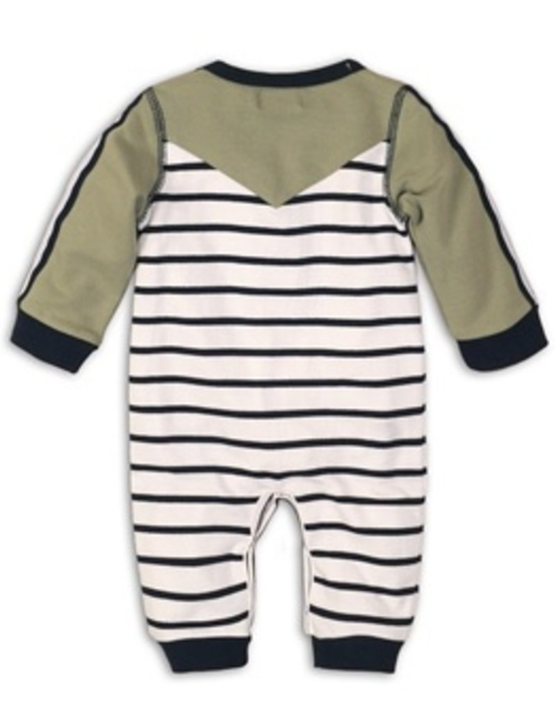 Dirkje Playsuit white navy stripe light army green