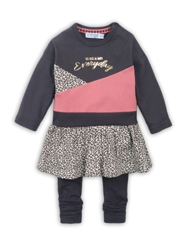 Dirkje Tweedelig babysetje dark brown old pink