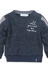 Dirkje Sweater navy melange met opdruk