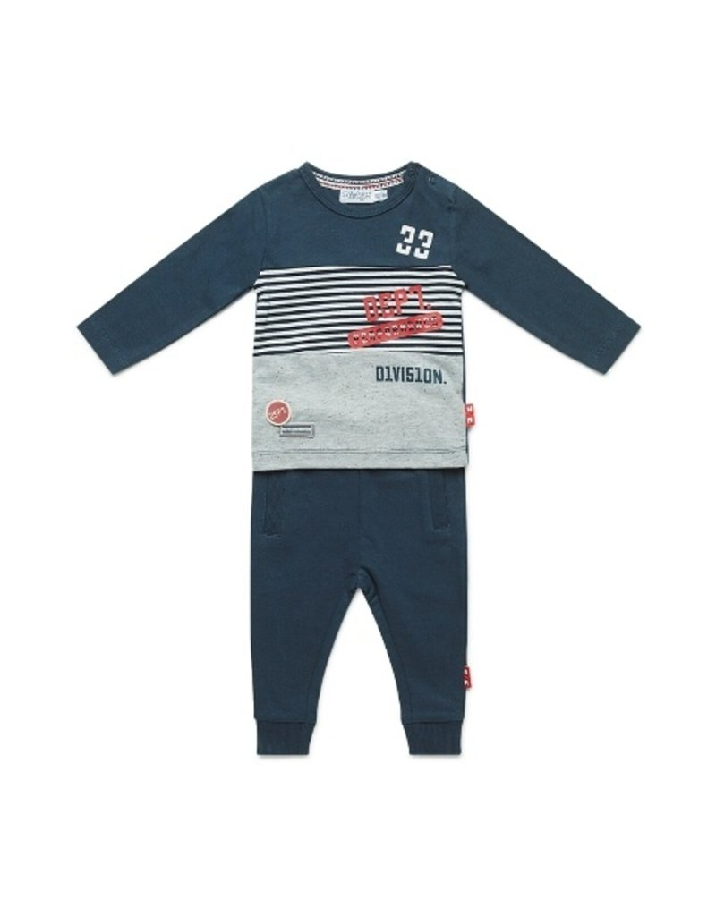 Dirkje Babysetje grey melee + red + navy