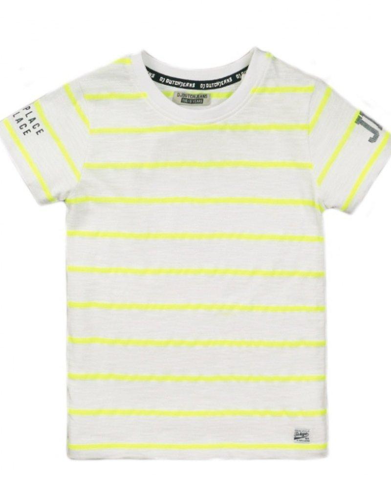 DJ Dutch Jeans t-shirt white neon yellow