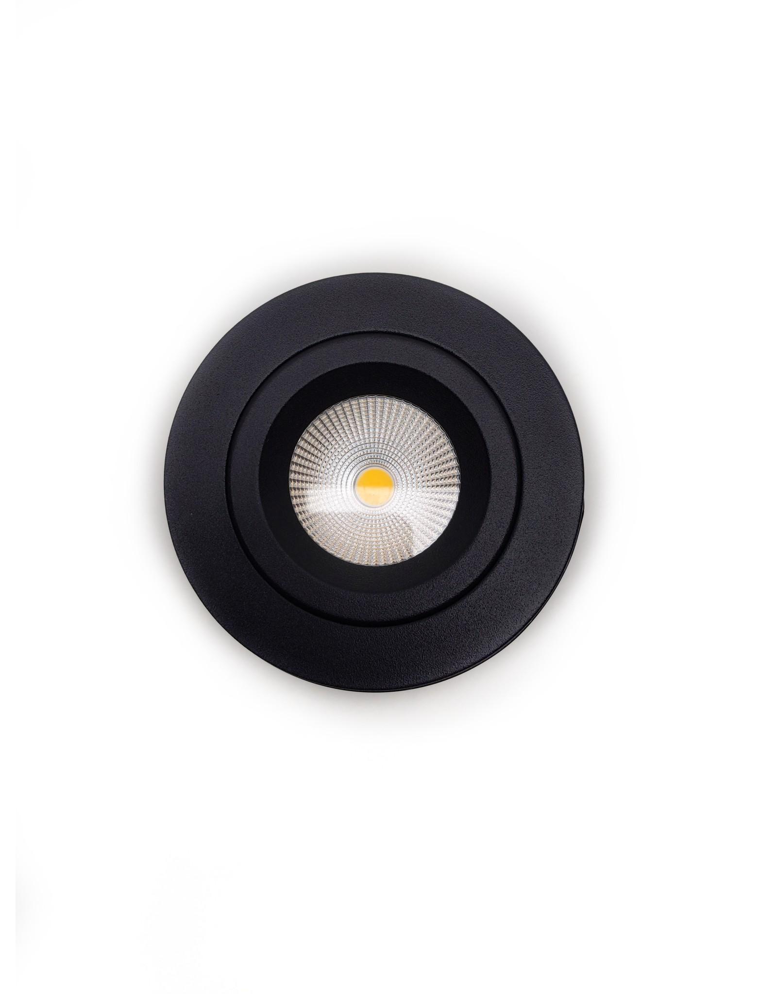 LedLed Tonny LED Kantelspot Opbouw Rond Zwart 2700k  Dimbaar