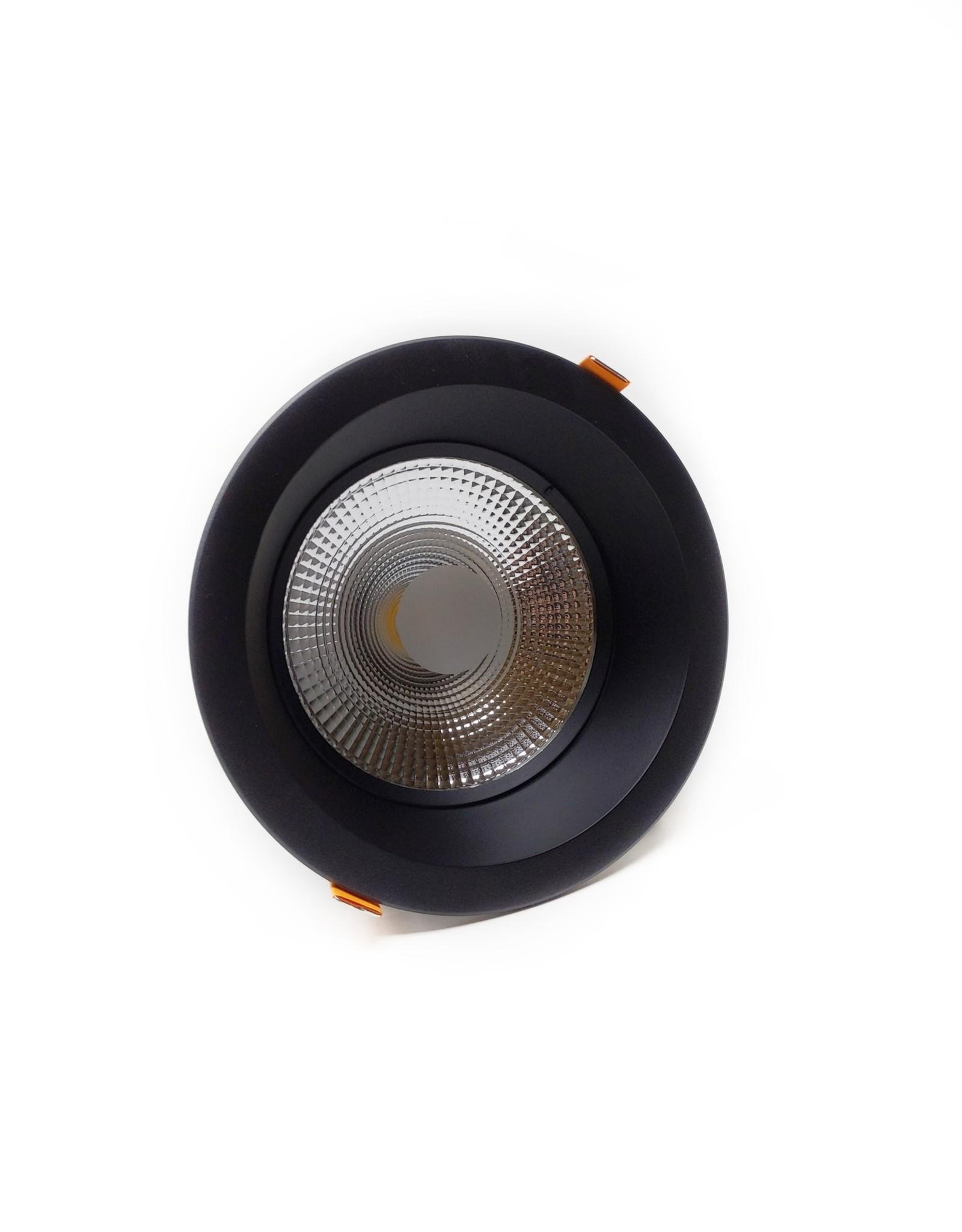 LedLed Glare Dowlight ZWART 4000k 145mm 8-12W gatmaat 120mm