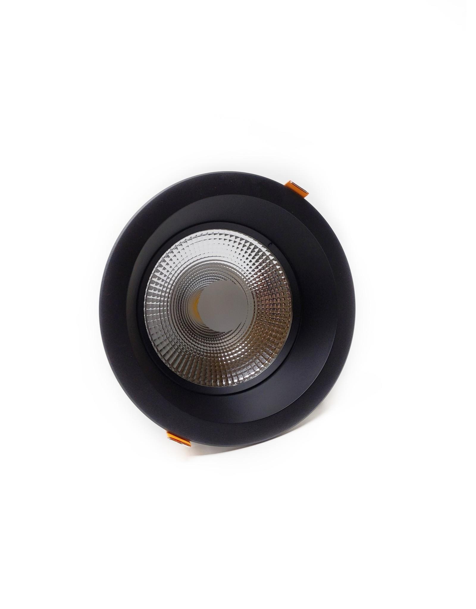 LedLed Glare Dowlight ZWART 3000k 192mm 8-20W gatmaat 165mm