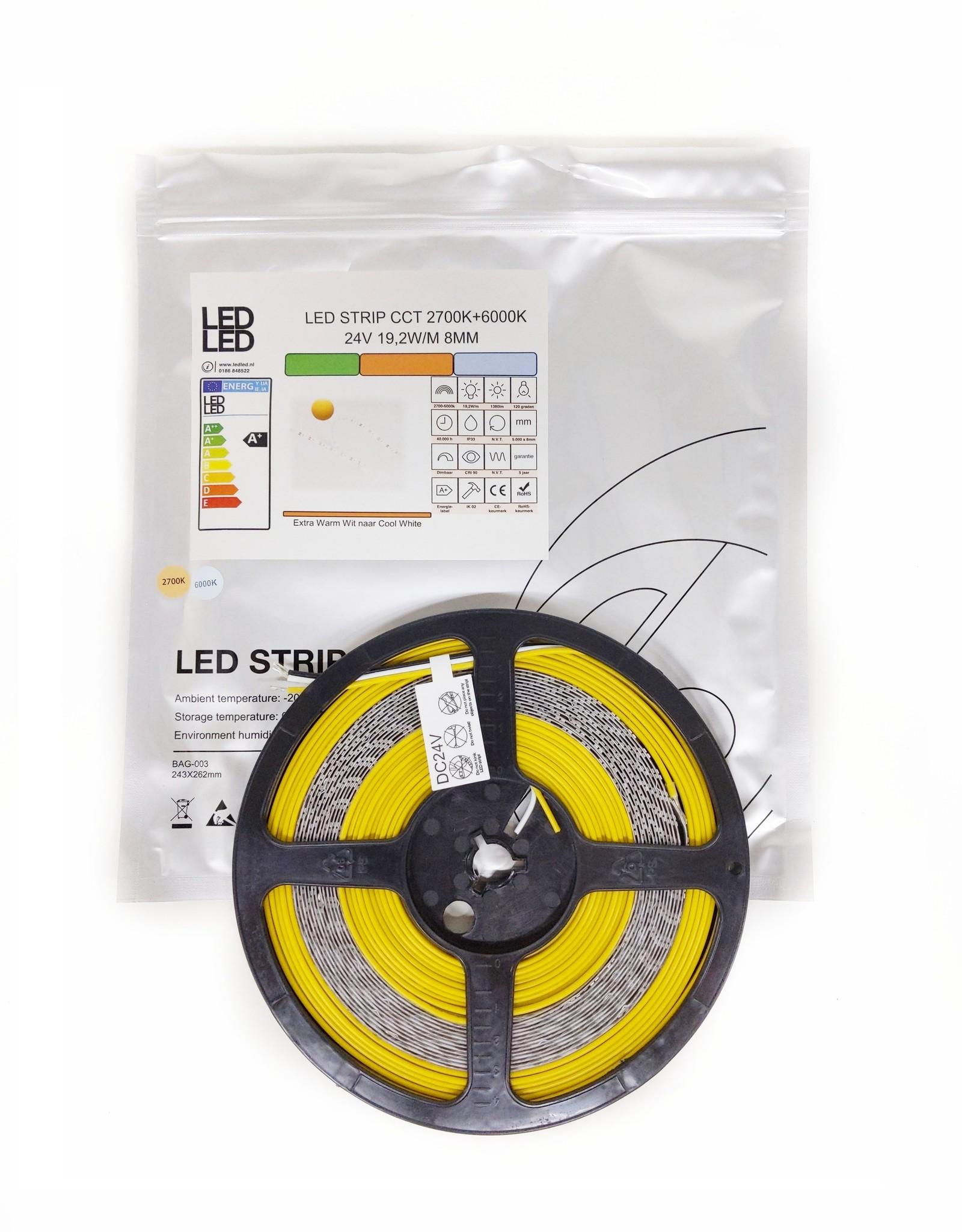 LedLed Varo Led strip | CCT | 24V | 19,2W/m | 8mm