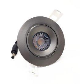 LedLed Addy led kantelspot rond rvs-matt dimbaar - Interieur lens