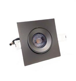 LedLed Addy led kantelspot vierkant rvs-matt dimbaar - Interieur lens