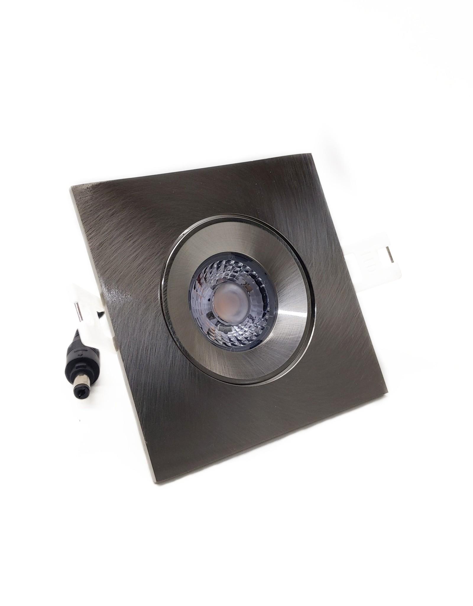LedLed Addy led kantelspot vierkant rvs dimbaar - Interieur lens
