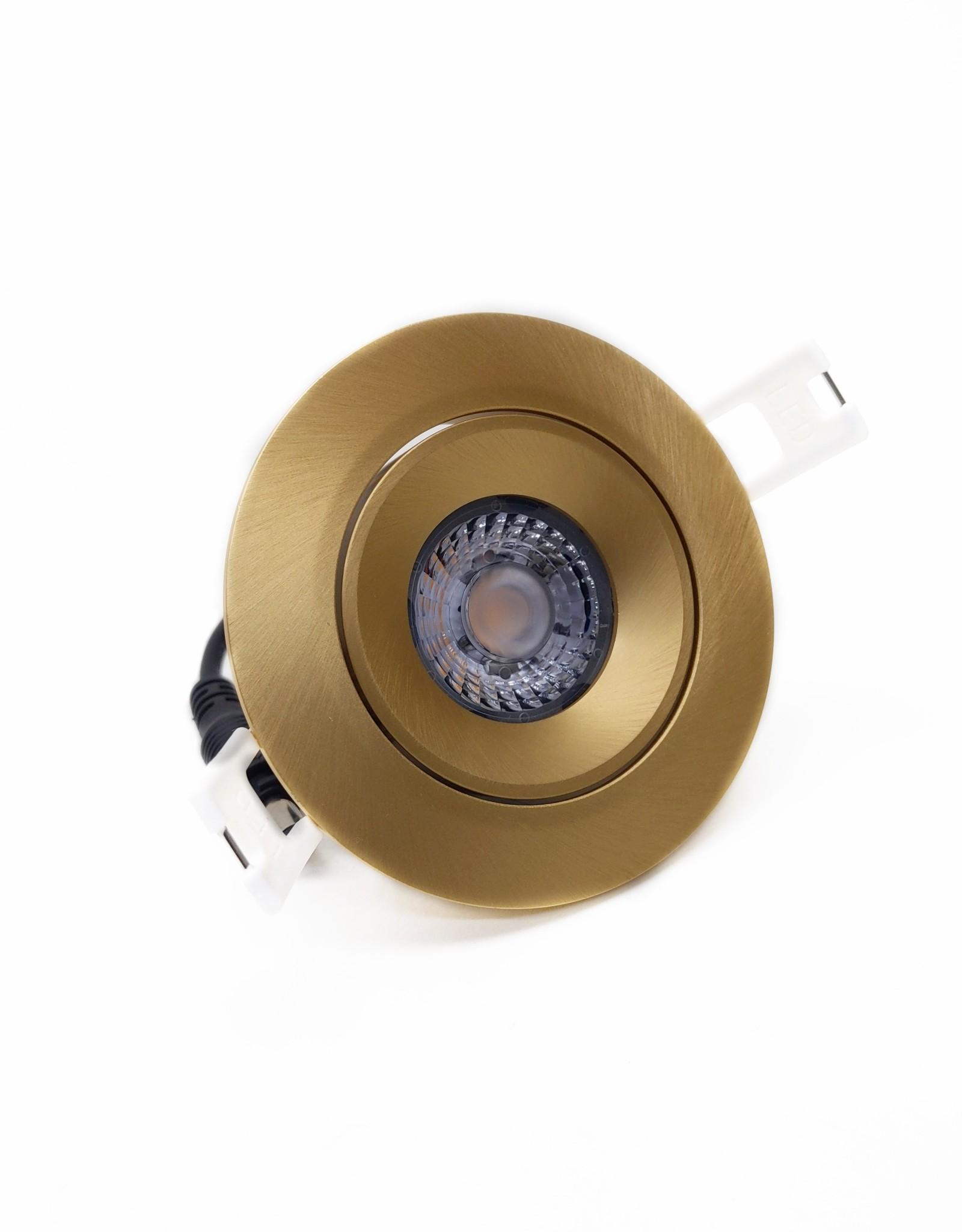 LedLed Addy led kantelspot rond goud dimbaar - Interieur lens
