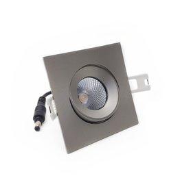 LedLed ADDY led kantelspot vierkant rvs -matt dimbaar - Pro reflector