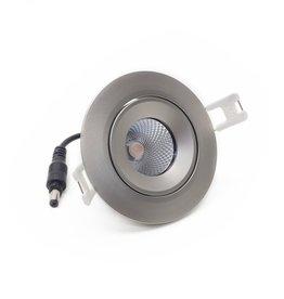LedLed ADDY led kantelspot rond rvs-matt dimbaar - Pro reflector