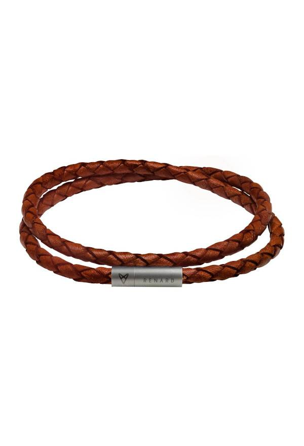 Braided leather double wrap navy
