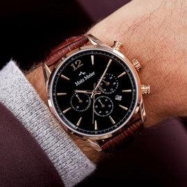 Mats Meier Grand Cornier chronograaf horloge zwart/bruin