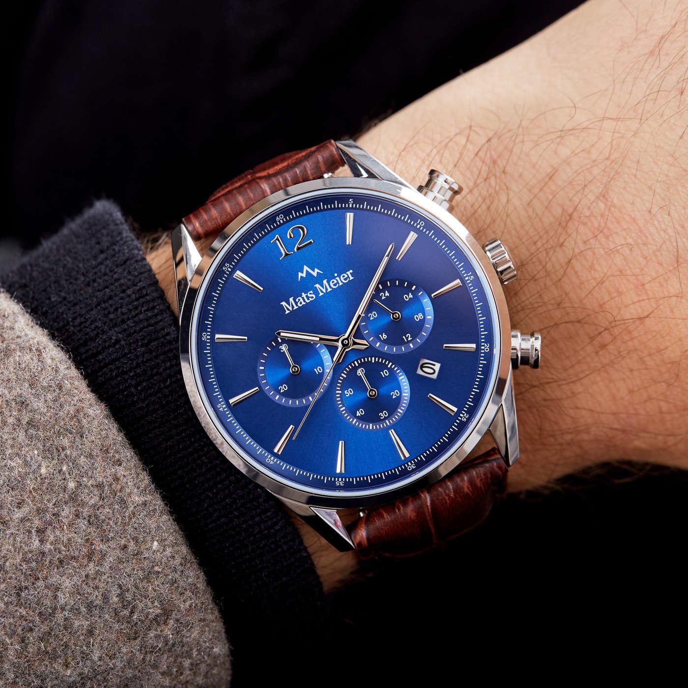 Mats Meier Grand Cornier chronograaf herenhorloge blauw / bruin